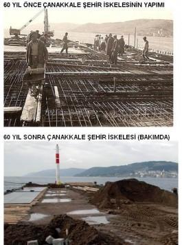 60 Yıl Önce ve Sonra Çanakkale Şehir İskelesi Civarı